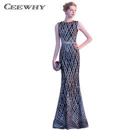 CEEWHY Vestido de Festa Abendkleider Mermaid Evening Dresses Prom Dresses  Plaid Sequined Evening Dress Long Evening Gown Black 3cd130c43027