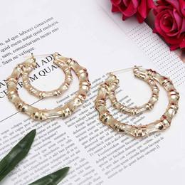 Discount big hop earrings - Trendy Large Bamboo Joint Love Heart Star Earrings Oorbellen Orecchini Hip-Hop Golden Ladies Big Circle Studs Earrings F