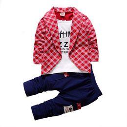 $enCountryForm.capitalKeyWord UK - Toddler Baby Boy Formal Clothing Lattice Long Sleeve Casual Pants 2 Pieces Children's suits Infant Clothing Set