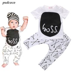 cute baby white t shirt UK - 2017 Hot Cute Baby Toddler Boy Girl Clothing Set Short sleeve T-shirt Pants Outfit 0~24M