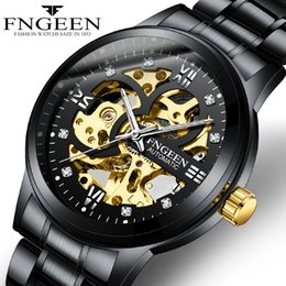 $enCountryForm.capitalKeyWord Australia - Relogio Masculino FNGEEN Watch for Men Fully Automatic Mechanical Wrist Watch Steel Waterproof Luminous Diamond Skeleton Mechanical Watches