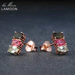 $enCountryForm.capitalKeyWord Australia - LAMOON Classic 100% Natural Multi-Color Oval Tourmaline 925 Sterling Silver Jewelry Rose Gold Plated S925 stud Earrings LMEI035Y1882701