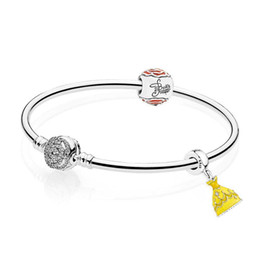 EnchantEd rosEs online shopping - 925 Sterling silver Belle s Enchanted Rose Bangle Set Clear CZ fit DIY Original charm Bracelets jewelry A set of prices