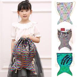 $enCountryForm.capitalKeyWord NZ - Mermaid Sequin Drawstring Backpacks Girls Magic Reversible Bling Shoulder Bag Glittering Drawstring Travel Pouch Bag OOA5838