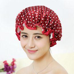 Women Waterproof Shower Bath Cap Hat With Bear Bowknot Balloon Cherry Design For Adult D5 Bath & Shower