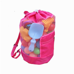 Fabric beach bag online shopping - Colourful Mesh Tote Children Beach Bag Folding Toy Shells Storage Pouch Easy To Carry New ls C