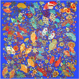 Woman Fans Canada - Lake Blue Twill Silk Scarf Women Fashion Floral Fan Printed Hijab Female Beach Shawl&Wrap Large Foulard Square Scarves 130*130cm