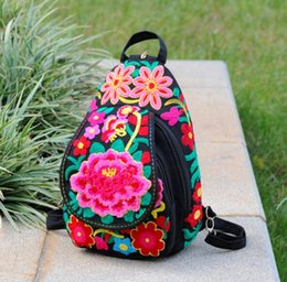 Discount pocket books handbags - Red Florals Embroidery Women Rucksack Large capacity Backpack Shoulder School Book Travel Handbag Bag