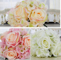 White Roses Bride Australia - Wedding Rose Bridal Bouquet Artificial Rose Holding Flowers Wedding Party Gifts Wedding Accessories Flowers White Pink Champagne
