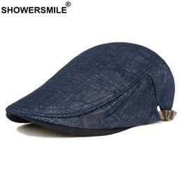 550abb6e665 SHOWERSMILE Navy Blue Beret Men Stripe Cotton Duckbill Hat Male Adjustable  Casual British Style Classic Ivy Flat Cap New Fashion