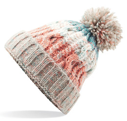 Chinese  New Cable Knitted Bobble Hat Plain Mens Womens Beanie Warm Winter Pom Wooly Cap Bobble Hats Ladies Adult Caps Wholesale manufacturers