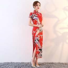 809af442eeeb New Red Ladies Chinese Wedding Bride Dress Printed Mandarin Collar Elegant Qipao  High Split Sexy Long Cheongsam Oversize 6XL