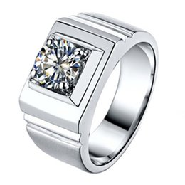 synthetic diamonds 925 silver UK - Eleglant 1CT Synthetic Diamond Wedding Ring Male 925 Sterling Silver Simulated Gemstone Jewelry for Man Engagement Ring White Gold Plated