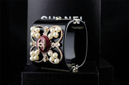 $enCountryForm.capitalKeyWord Australia - linlin Factory Sell linlin Pearl Diamond Cuff Wide Bracelet Fashion Clear Crystal Punk Acrylic Star Bracelet With Box
