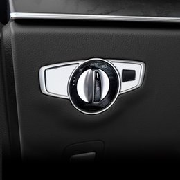 molding types Australia - Car Styling Headlight Switch Buttons Decorative Frame Cover Trim Interior Molding Sticker For Mercedes Benz GLC C E S Class W205 W213