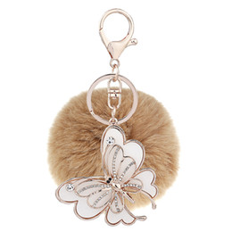 chain hairs UK - 2018 Korean version of big butterfly, hair ball, key chain, bag, pendant, car accessories, small gifts, promotion, wholesale