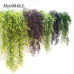 fake vines decoration UK - Hoomall Green Purple Artificial Plant Silk Rattan Wall Flower Plant Wedding Party Decoration Fake Flowers Vine Home Decor Xmas