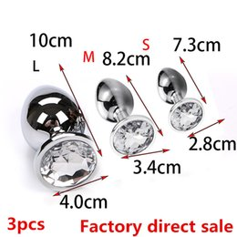 Factory direct sale BDSm sex3PCS Anal Beads Crystal Jewelry Heart Butt Plug  Stimulator Sex Toys Dildo Stainless Steel Anal Plug D18111502