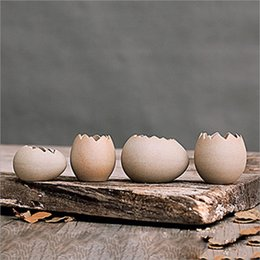$enCountryForm.capitalKeyWord NZ - Creative Ceramic Egg Shell Shape Flower Pots Succulent Planters Pots Mini Bonsai Cactus Planters Desktop Flowerpots for Wholesales