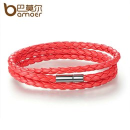 Wholesale BAMOER Fashion Men Women Leather Wrap Bracelet with Adjustable Long Chain Magnet Red Bracelets Jewelry PI0063
