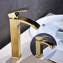 Modern Style Gold Color Bathroom Sink Faucet Single Handle Mixer Tap With  Cover Plate