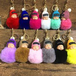 Dolls fur balls online shopping - Cute Sleeping Baby Doll Keychain Pompom Rabbit Fur Ball Carabiner Key Chain Keyring Women Kids Key Holder Bag Pendant GGA612