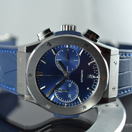 China Luxury Brand New All Classic Fashion Blue Chronograph Titanium Fusion Quartz Chronograph Mens Watch Blue Leather Strap Stopwatch Watch cheap fusion watches suppliers