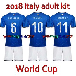 f2832a692 Italia Adult Kits 2018 World Cup Home soccer jersey 17 18 De Rossi Bonucci  Verratti Chiellini INSIGNE Belotti Jerseys italy Football shirts