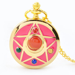 Wholesale Cute Pocket Watch Beautiful Girl Student Quartz Watch Cartoon Five pointed Star Diamonds Necklace