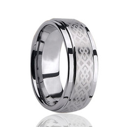 Tungsten Band Sizes UK - Free Shipping 8mm Wholesales Brushed Fashion Engraving Tungsten Carbide Band for Men Fashion tungsten jewelry ring US size 4 to 17 big size
