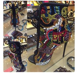 $enCountryForm.capitalKeyWord NZ - New Design Comic Rhinestone Studded Bridal Shoes Woman OpenToe Suede Booties Lace Up Stiletto High Heels Autumn Crystal Ankle Boots