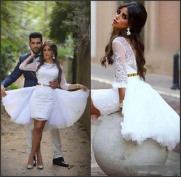 $enCountryForm.capitalKeyWord NZ - Hot Sale Short Lace Mini Wedding Dresses with Tulle Overskirt Backless 3 4 Long Sleeves Formal Gowns for Bride