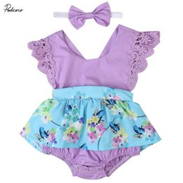 Wholesale Cute Lace Floral Print Rompers Dress Purple blue Summer Baby Girls Ruffles Sleeve Romper Flower Jumpsuit Headband outfits