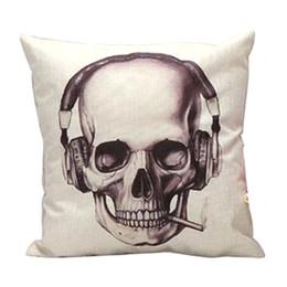 Discount earphone cute case - Wholesale- High Quality Earphone Skull Pattern Cute Waist Pillow Case Pillow Cover Throw Cushion Decal Linen Blend Meter