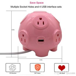 Wholesale Cute pig model multi function usb power supply smart socket outlet line plug in wire plug board European standard