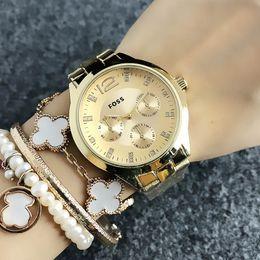 Wrist Watches Logos Australia - Fashion Brand women's Girl style Steel metal band quartz wrist watch Full logo FO 03