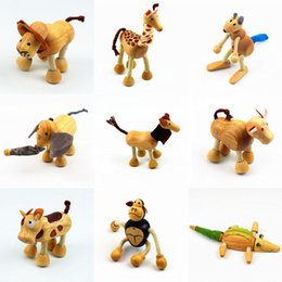 Wood Animal Figured Toys NZ - New Animal Action Figures Toys cartoon Wood animal model dollls children Educational and fun Toys in 2018