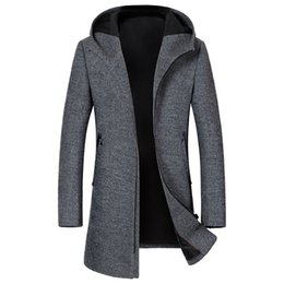 men s woolen long coats 2019 - Wholesale- 2017 autumn new style high quality fashion casual jacket Men's light Grey hooded woolen trench coat jack
