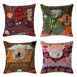 harry potter glasses NZ - Harry Potter Cushion Covers 8 Styles Cartoon Philosopher's Stone Glass Beige Pillow Cover Thin Linen Cotton Bedroom Sofa Decoration