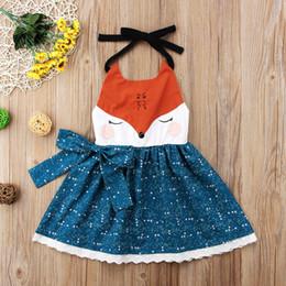 Discount neck face clothing - Cute Kids girls cartoon fox face dresses braces skirt backless princess party orange blue bowknot tutu lace dress girl c