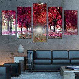 Canvas Photo Prints Australia - Poster Artwork Canvas Painting Photo 5 Panel Red Tree Landscape Modular Pictures Wall Fashion For Living Room HD Print Framework