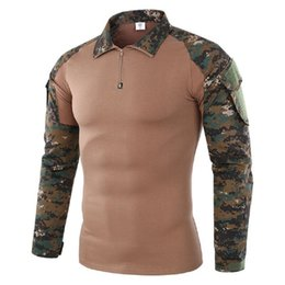 Chinese  Shanghai Story Brand Camouflage Long Sleeve Frog Suit Men Tops Tactical Tool Cargo t Shirt Army Military Combat Tee manufacturers
