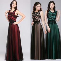 cheap elegant designer dresses 2019 - Designed Robe de Soiree Longue Elegant Black Lace Red Evening Dress Long Cheap Appliques Chiffon Evening Gown Vestido de
