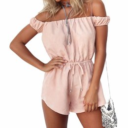 $enCountryForm.capitalKeyWord Australia - 2018 Summer Style Rompers Women Jumpsuit Pink Sexy Off The Shoulder Playsuits Ladies Casual Solid Overalls Body Suit S1012