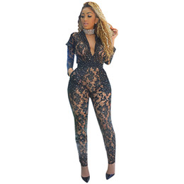 e8e9bc29246 Black Lace Bodycon Jumpsuits Women Sexy Transparent Mesh Bodysuits Long  Sleeve Front Zipper Sequin Jumpsuit Club Romper Overalls