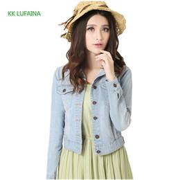 3bc9565a99a 2018 Autumn Women Denim Jacket Plus Size S-4XL Vintage Cropped Short Denim  Coat Long-Sleeve Jeans Coat Cardigan Light Deep Blue