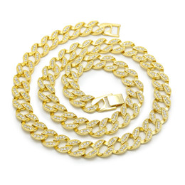 $enCountryForm.capitalKeyWord Canada - Whosale Hip Hop Iced Out Cuban Chain Necklace Yellow Gold Silver Colors Polished Jewelry for Men