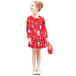 Wholesale kids sizes clothes online – design Kids Clothing Long Sleeve Casual Cartoon Floral Print Dress Girls Autumn Spring Long Sleeve Dresses Size T