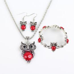 $enCountryForm.capitalKeyWord UK - Cheap Jewelry Sets Turquoise Owls Earrings Pendant Necklaces Bracelets Set for Women Girl Party Gift Fashion Retro Jewelry Wholesale