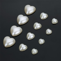 100pcs lot 6 8 12mm Heart Flat Back Cabochon Half Pearl Beads Buttons Sewing  Garment Material DIY Jewelry Accessories F1537 4cc8a4c5a365